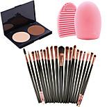 Pro 20pcs Brushes Set Foundation Eyeshadow Eyeliner Lip Brush Tool+2Colors Powder Palette+1PCS Brush Cleaning Tool