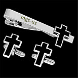 Personalized Gift Men's Engravable Silver Black Plain Crucifix Cross Pattern Cufflinks and Tie Bar Clip Clasp(1 Set)