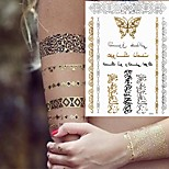 1Pc Kinghorse  Sexy  Gold And Silver Metallic Totem Necklace Bracelet Tattoo Sticker 21*14.5CM