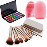 12Pcs Cosmetic Makeup Tool Blush Foundation Brush Set Box +28Colors Shimmer Eyeshadow Palette+1PCS Brush Cleaning Tool