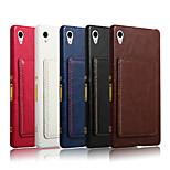 motif de cheval fou carte de la mode rétro coque arrière téléphone support de couverture en cuir pour Sony z4 (couleur assorties)