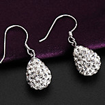 Japan and South Korea   S925  Silver  No use Elliptical Crystal   Drop Earrings
