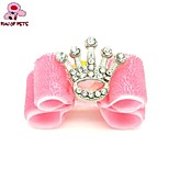 FUN OF PETS® Elegant Pink Ribbon Style Brilliant Rhinestone Crown Decorated Rubber Band Hair Bow for Pet Dogs