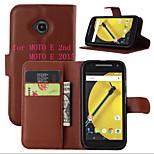litchi alrededor paréntesis abierto cartera de tarjeta de teléfono de cuero adecuado para Motorola MOTO e segundo / moto e 2015 (color