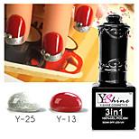 Y-SHINE 2 Pcs One Step Nail Gel Polish Soak Off Uv Gel Nail Polish Y13-Y25(Red wine&sliver color)