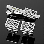 Personalized Gift Men's Engravable Silver Plain Scan UPC Barcode Pattern Cufflinks and Tie Bar Clip Clasp(1 Set)