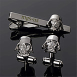 Personalized Gift Men's Engravable Black Plain Darth Vader Pattern Cufflinks and Tie Bar Clip Clasp(1 Set)