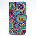 Painted Disc Pattern PU Leather Full Body Case with Card Slot and Stand for iPhone 5/5S