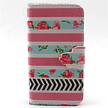 rosafarbenen Blumenmuster PU-Leder-Tasche für iPhone 4 / 4S