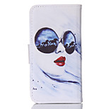 Glasses Woman Pattern PU Material Card Sided Bracket Full Body Case for iPhone 5/5S