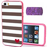 2-in-1 Bling Bling Golden Heart Pattern PC Back Cover with PC Bumper Shockproof Hard Case for iPhone 5G/5S