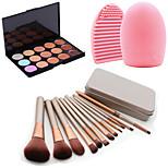 12Pcs Cosmetic Makeup Tool Eyeshadow Powder Blush Foundation Brush Set Box +15Colors Concealer+1PCS Brush Cleaning Tool