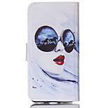 Red Lips Pattern PU Material Card Sided Bracket Full Body Case for iPhone 6