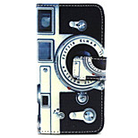 Retro camera Pattern PU Leather Case with Magnetic Snap and Card Slot for iPhone 5/5S