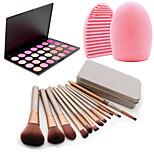 12Pcs Cosmetic Makeup Tool Eyeshadow Blush Foundation Brush Set Box +28Colors Blush Palette+1PCS Brush Cleaning Tool