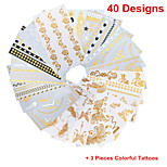 3PCS Colorful Tattoos+ 40PCS Flash Tattoo Gold Tattoo Flash Taty Metallic Tattoo Metal Tatouage Temporary Tattoo Sticker