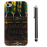 Black Feather Letter Pattern TPU Soft Back and A Stylus Touch Pen for iPhone 4/4S