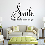 Wall Stickers Wall Decals Style Smile English Words & Quotes PVC Wall Stickers