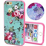 2-in-1 Bling Bling Green Flowers Pattern PC Back Cover with PC Bumper Shockproof Hard Case for iPhone 6