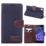 Denim Pattern Cloth Horizontal Flip Magnetic Buckle Leather Case with Card Slots & Holder for Xperia Z3