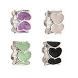 Diy Beads Metal Europe Style Heart Tube Shape Large Hole Beads 5Pcs