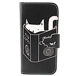 Cat Pattern PU Leather Material Card Full Body Case for iPhone 5/5S