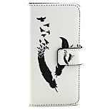 Feather  Pattern PU Leather Case with Magnetic Snap and Card Slot for iPhone 6
