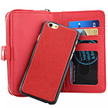 Classic Zipper Wallet Holster Combo PU Leather Case for iPhone 6 (Assorted Colors)