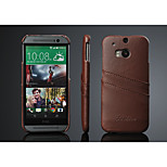 Card slot design genuine leather case for htc m8 with stand