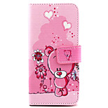 Bear  Pattern PU Leather Case with Magnetic Snap and Card Slot for iPhone 6