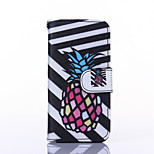 Pineapple Pattern PU Leather Material Card Full Body Case for iPhone 5C
