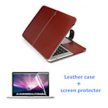 Newest Luxury Leather Magnet Full Body Case and HD Screen Protector for Macbook Pro 15.4