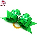 FUN OF PETS® Lovely Bling Rhinestone Decorated Rubber Band Hair Bow for Pet Dogs  (Random Color)