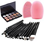 20pcs Makeup Brushes Set Eyeshadow Eyeliner Lip Brush Tool+15Colors Shimmer Eyeshadow Palette+1PCS Brush Cleaning Tool