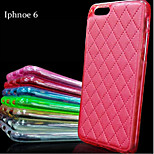 TPU Skin Grid Pattern Leather Case Dirt-resistant Thin Mobile Phone Cover Bag for iphone 6