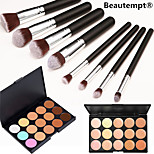 8pcs makeup set Professional/Eco-friendly/Full Coverage Silver/Black blush/powder shadow brush set with 15 Colors Natural Concealer(2 Color Choose)