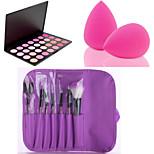 HOT SALE 7Pcs/set Purple Soft Kit Makeup Brush Tool+28 Colors Contour Face Powder Blush Makeup Palette + Powder Puff