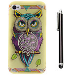 Ribbons Owl Pattern TPU Soft Back and A Stylus Touch Pen for iPhone 4/4S