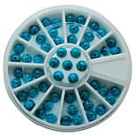 60pcs/set Round Turkey Stone 3D Nail Art Decorations Perfect Nail Salon Blue Colors DIY 5mm