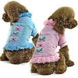 PETSOO Winter Dog Clothing 100% Cotton Printed Pet Jacket with Bow Decoration