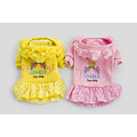 Beautiful High Quality Pet Clothes Pink/Yellow Cotton Hoodies For Dogs