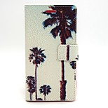 Coconut Tree Pattern PU Leather Material Card Full Body Case for Sony Xperia M2