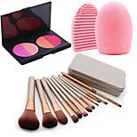 12Pcs Cosmetic Makeup Tool Eyeshadow Blush Foundation Brush Set Box +4Colors Blush Palette+1PCS Brush Cleaning Tool