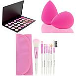 HOT SALE 7Pcs/set Pink Soft Kit Makeup Brush Tool+28 Colors Contour Face Powder Blush Makeup Palette + Powder Puff