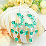 2015 New Holiday Gift Full Fire Green Quartz Gem .925 Silver Drop Earrings For Wedding Party Daily Holiday 1Pairs