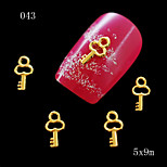 10pcs/lot 5*9mm Lovely key Shape 3D Golden Alloy Metal Charms Studs Tips DIY Nail Art Jewelry Decoration