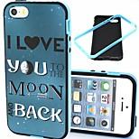 2-en-1 te quiero a la luna y el patrón de nuevo TPU con paragolpes pc estuche blando a prueba de golpes para el iphone 5 / 5s
