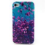 Purple Leaf  Pattern TPU Phone Case for iPhone 4/4S