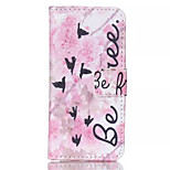 Pink Flower Pian Pattern PU Leather Phone Case For iPhone 5C