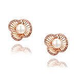 Z&X® Rhinestone/Pearl Hollow Out Flower Stud Earrings Wedding/Party/Daily